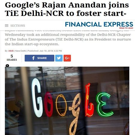 Googles-Rajan Anandan joins TiE Delhi-NCR to foster start-ups