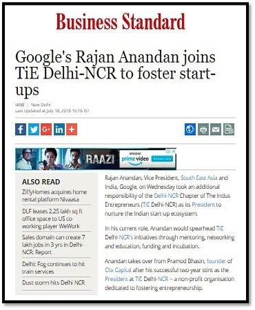 Googles-Rajan Anandan joins TiE Delhi-NCR to foster start-ups