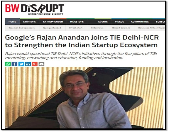 Rajan would spearhead TiE Delhi-NCR's initiatives through the five pillars of TiE mentoring, networking and education, funding and incubation.
